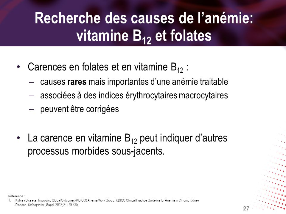 Recherche des causes de l'anémie: vitamine B12 et folates