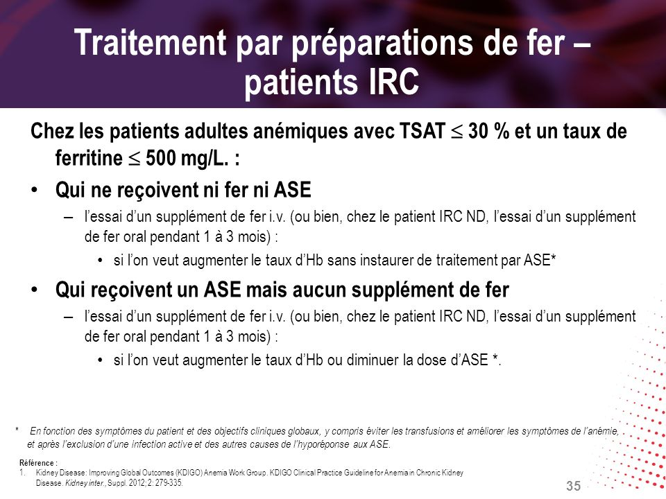 Traitement par préparations de fer – patients IRC