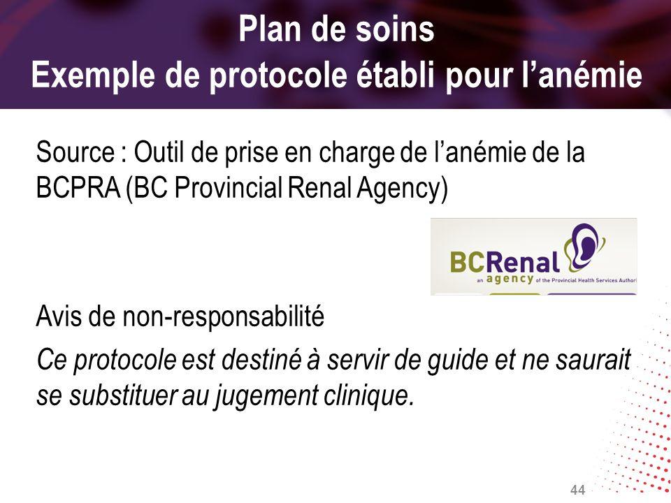 Plan de soins Exemple de protocole établi pour l'anémie
