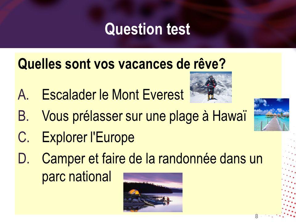 Question test Quelles sont vos vacances de rêve