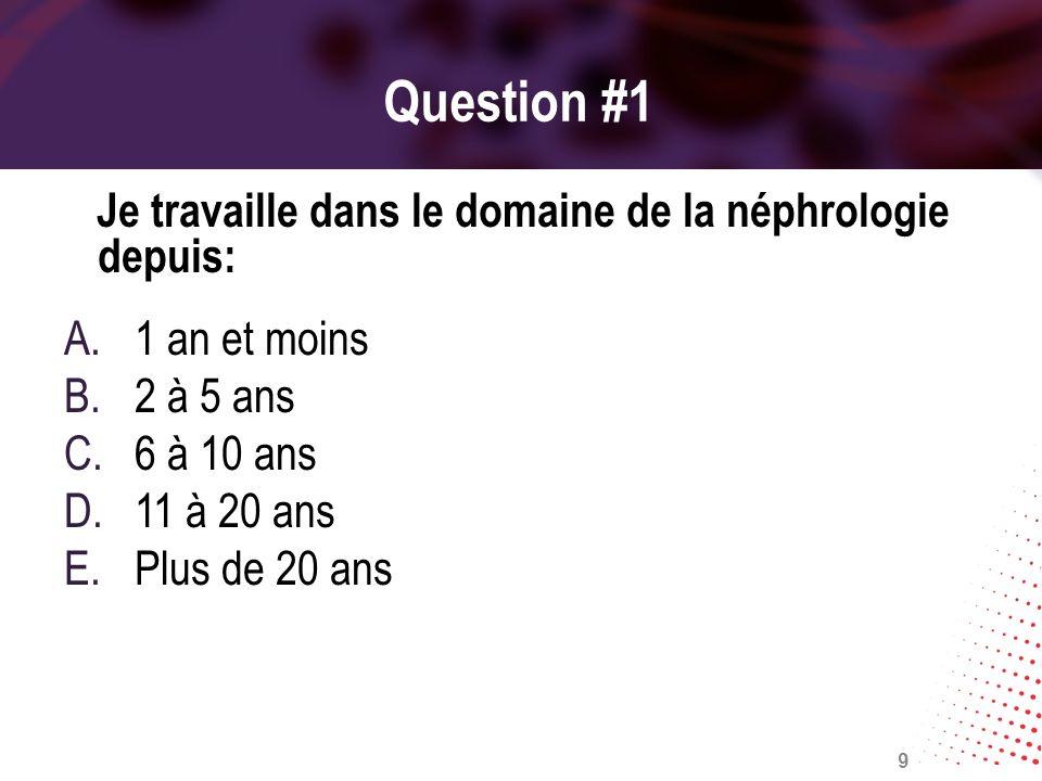 Question #1 Je travaille dans le domaine de la néphrologie depuis:
