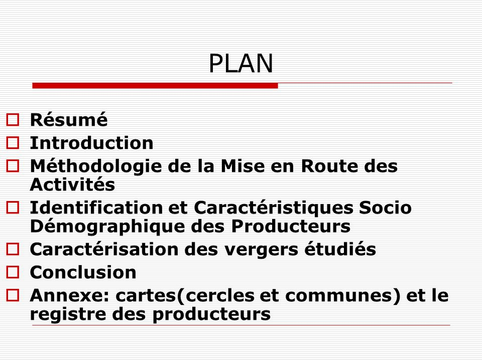 PLAN Résumé Introduction