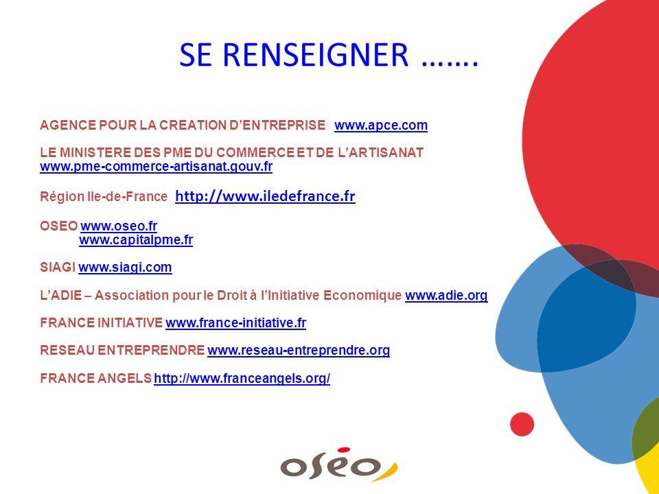 SE RENSEIGNER ……. AGENCE POUR LA CREATION D'ENTREPRISE www.apce.com