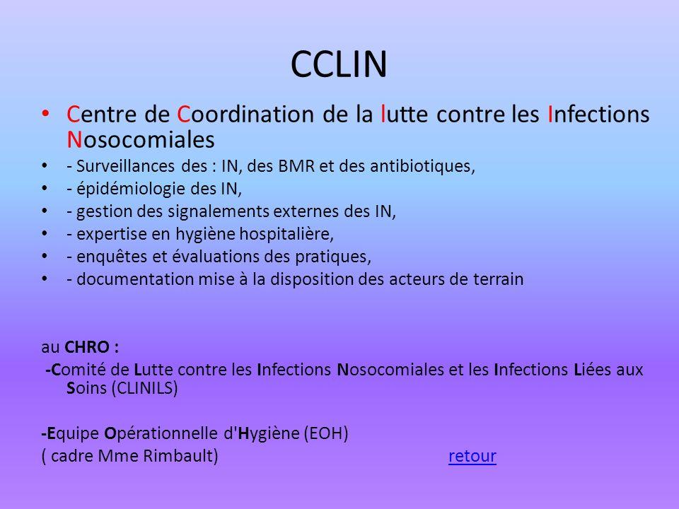 CCLIN Centre de Coordination de la lutte contre les Infections Nosocomiales. - Surveillances des : IN, des BMR et des antibiotiques,