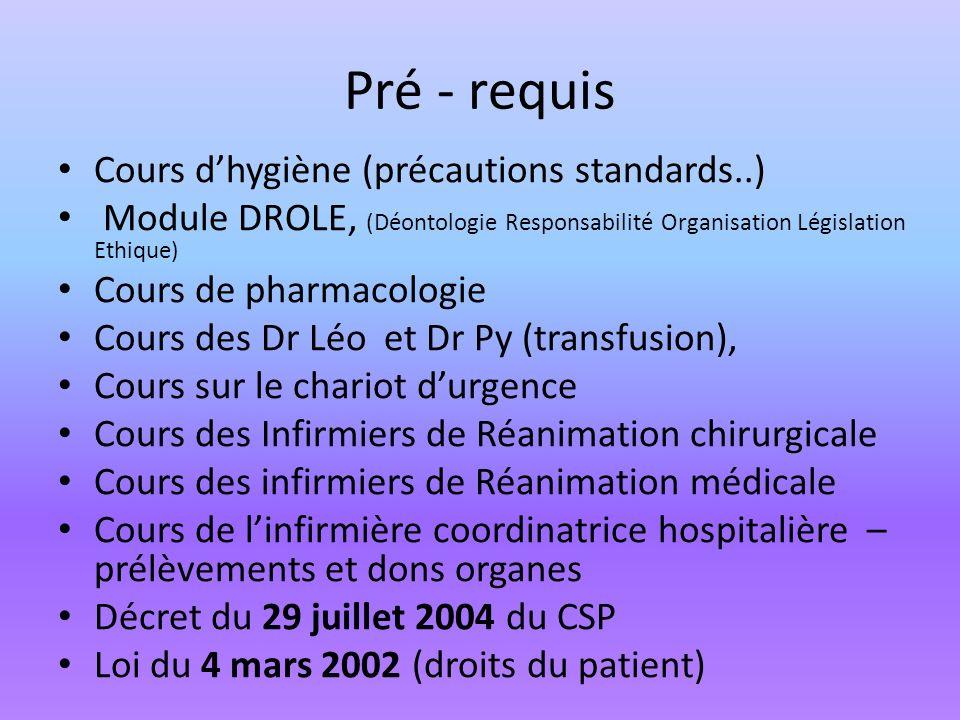 Pré - requis Cours d'hygiène (précautions standards..)