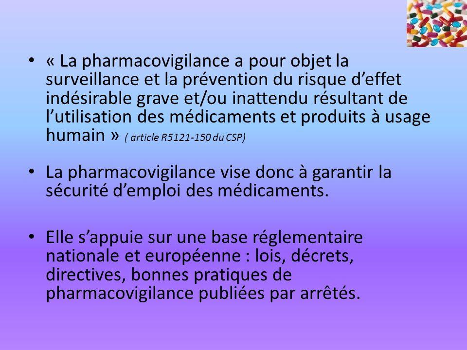 « La pharmacovigilance a pour objet la surveillance et la prévention du risque d'effet indésirable grave et/ou inattendu résultant de l'utilisation des médicaments et produits à usage humain » ( article R5121-150 du CSP)