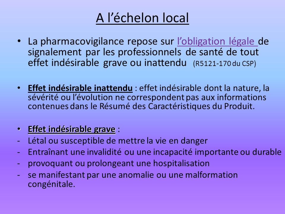 A l'échelon local