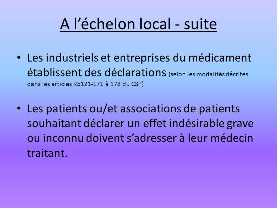 A l'échelon local - suite