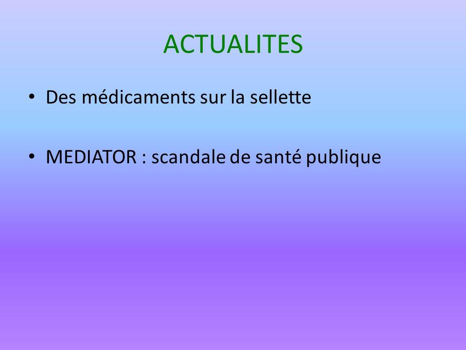 ACTUALITES Des médicaments sur la sellette
