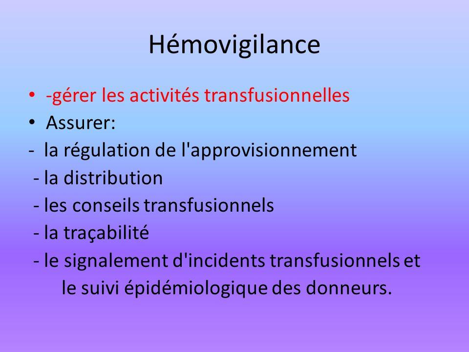 Hémovigilance -gérer les activités transfusionnelles Assurer:
