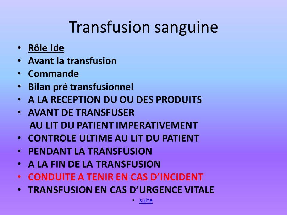 Transfusion sanguine Rôle Ide Avant la transfusion Commande