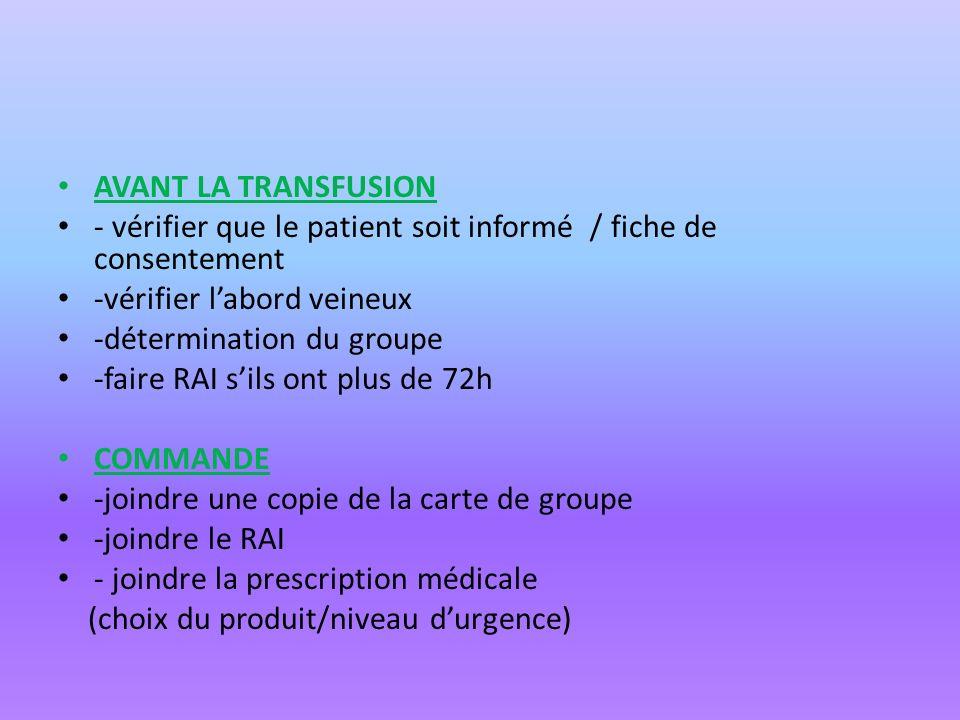 AVANT LA TRANSFUSION - vérifier que le patient soit informé / fiche de consentement. -vérifier l'abord veineux.