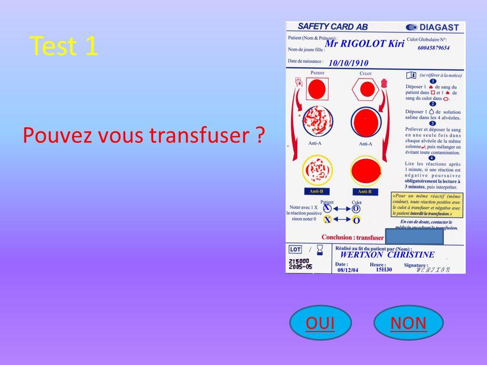 Test 1 Pouvez vous transfuser OUI NON