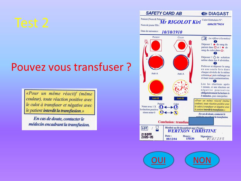 Test 2 Pouvez vous transfuser OUI NON