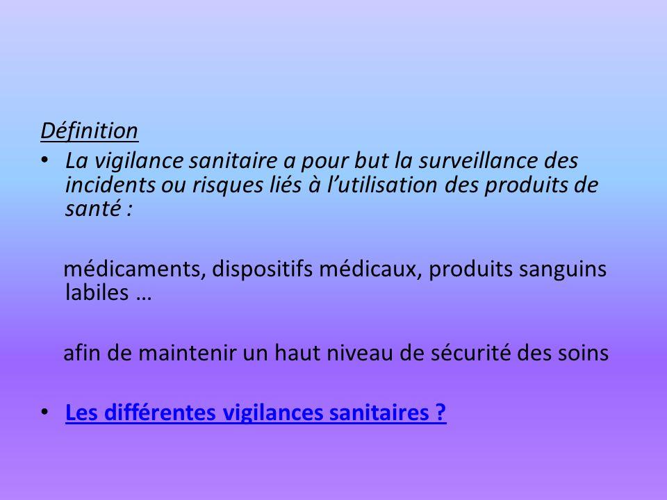 Définition La vigilance sanitaire a pour but la surveillance des incidents ou risques liés à l'utilisation des produits de santé :