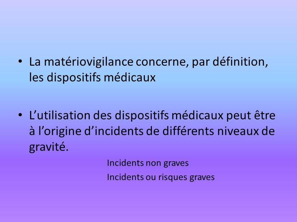 La matériovigilance concerne, par définition, les dispositifs médicaux