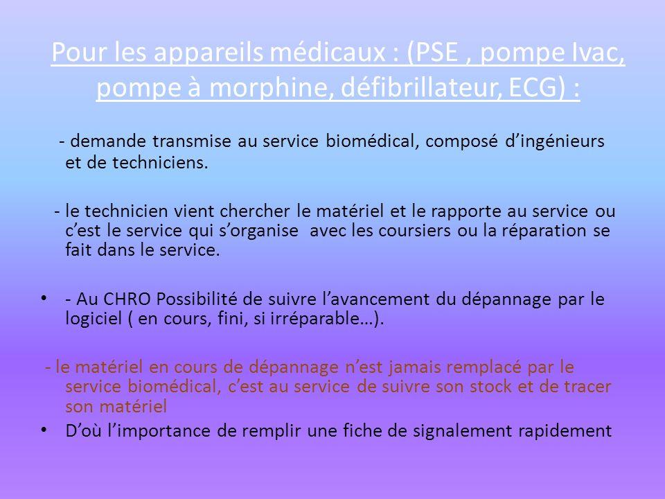 Pour les appareils médicaux : (PSE , pompe Ivac, pompe à morphine, défibrillateur, ECG) :