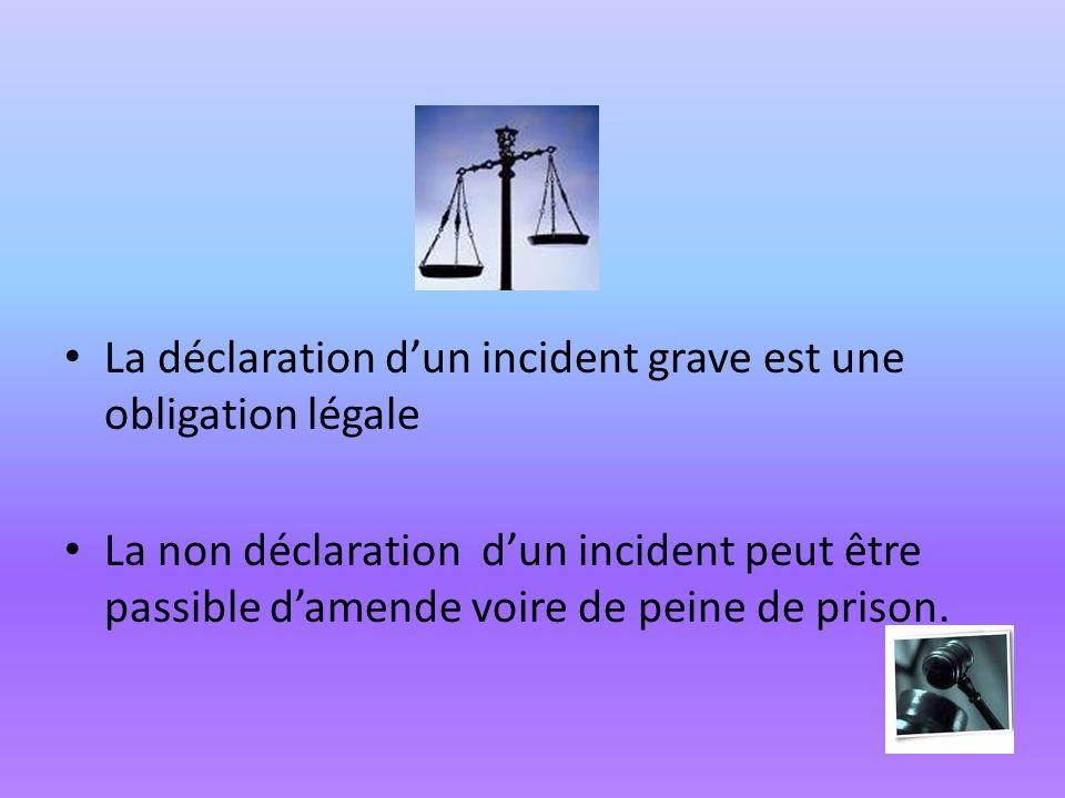 La déclaration d'un incident grave est une obligation légale