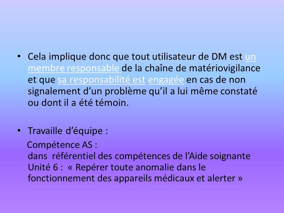 Cela implique donc que tout utilisateur de DM est un membre responsable de la chaîne de matériovigilance et que sa responsabilité est engagée en cas de non signalement d'un problème qu'il a lui même constaté ou dont il a été témoin.