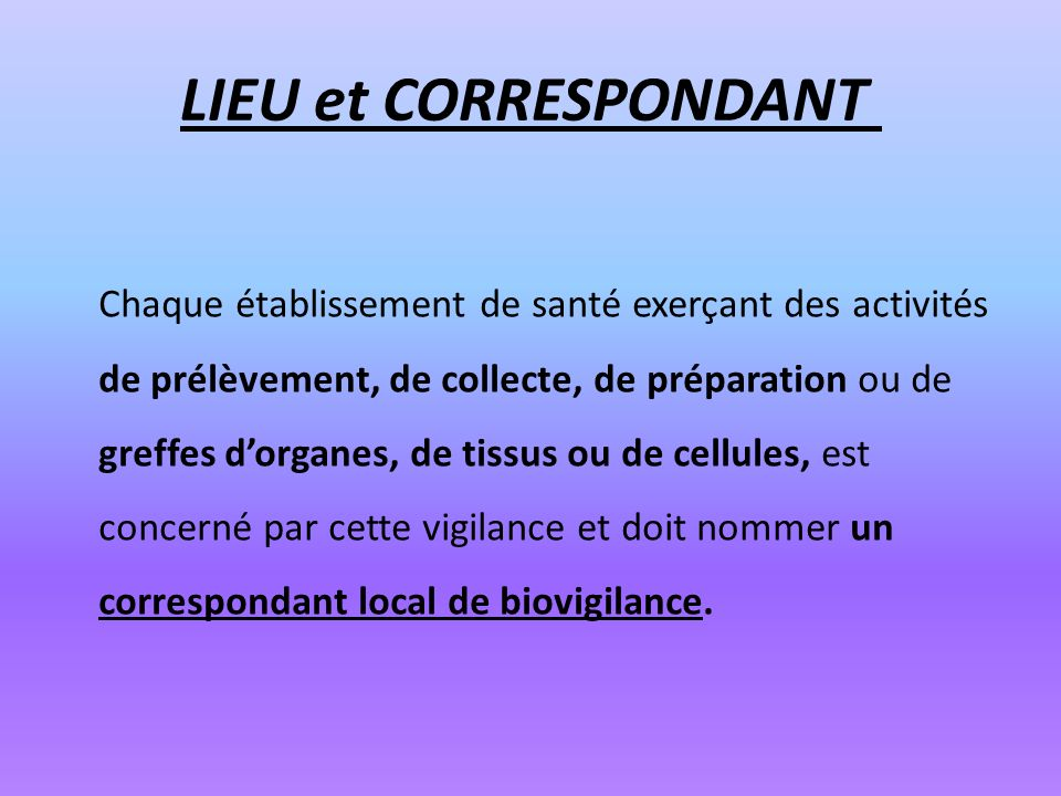 LIEU et CORRESPONDANT