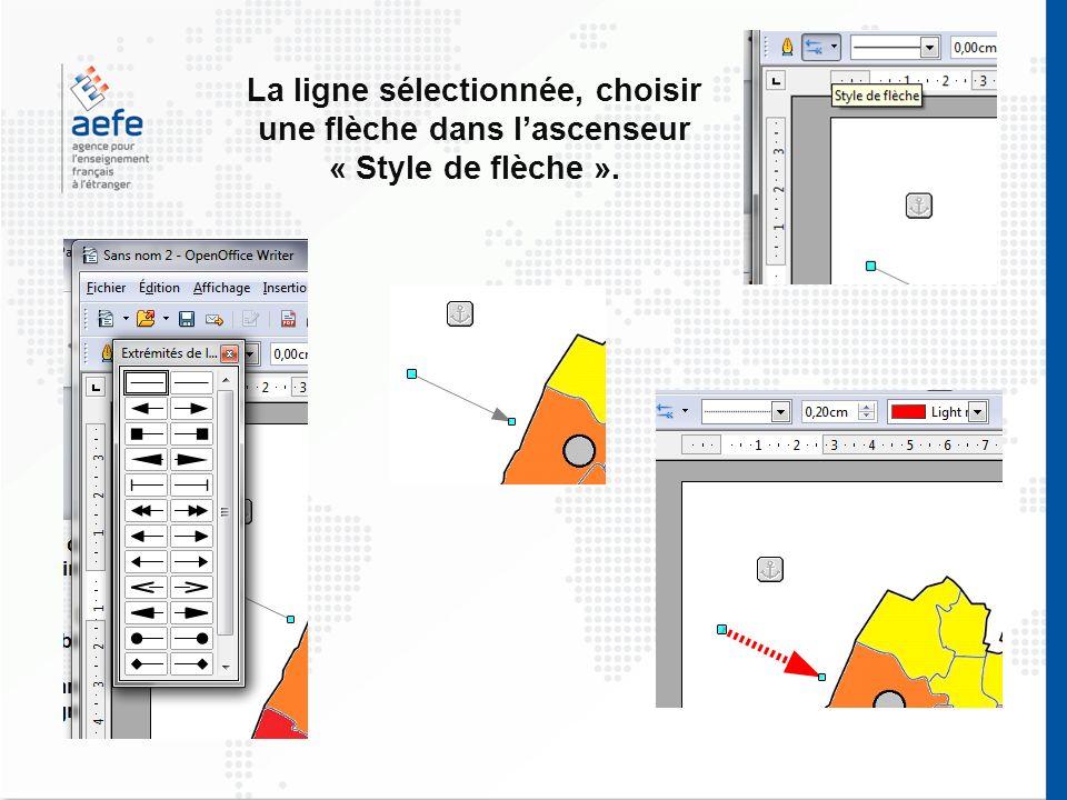 La ligne sélectionnée, choisir une flèche dans l'ascenseur « Style de flèche ».
