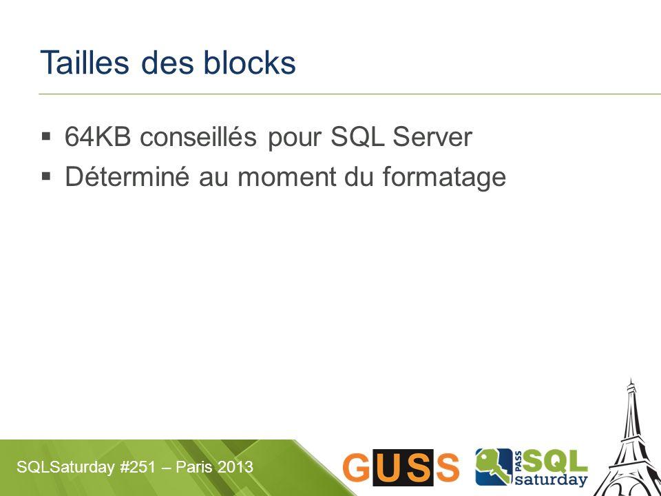 Tailles des blocks 64KB conseillés pour SQL Server