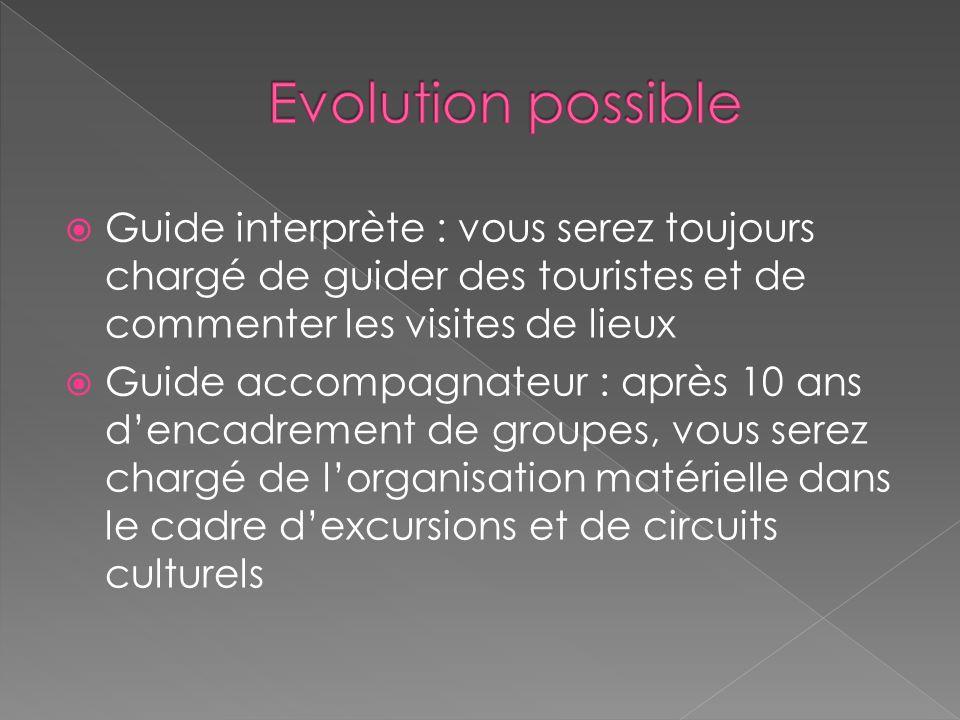 Evolution possible Guide interprète : vous serez toujours chargé de guider des touristes et de commenter les visites de lieux.