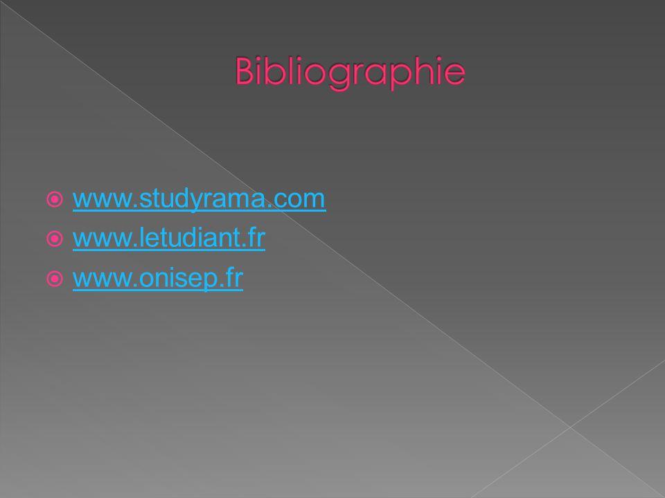 Bibliographie www.studyrama.com www.letudiant.fr www.onisep.fr