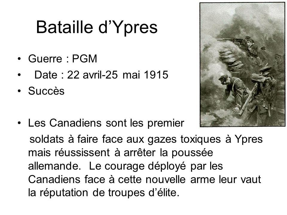 Bataille d'Ypres Guerre : PGM Date : 22 avril-25 mai 1915 Succès