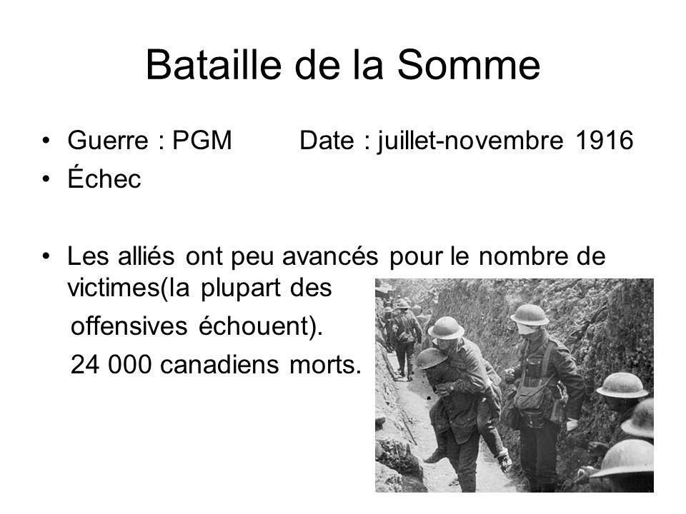 Bataille de la Somme Guerre : PGM Date : juillet-novembre 1916 Échec