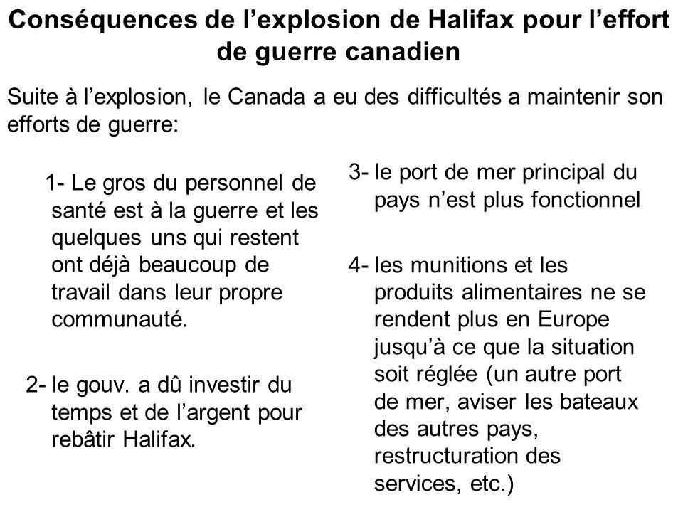 Conséquences de l'explosion de Halifax pour l'effort de guerre canadien