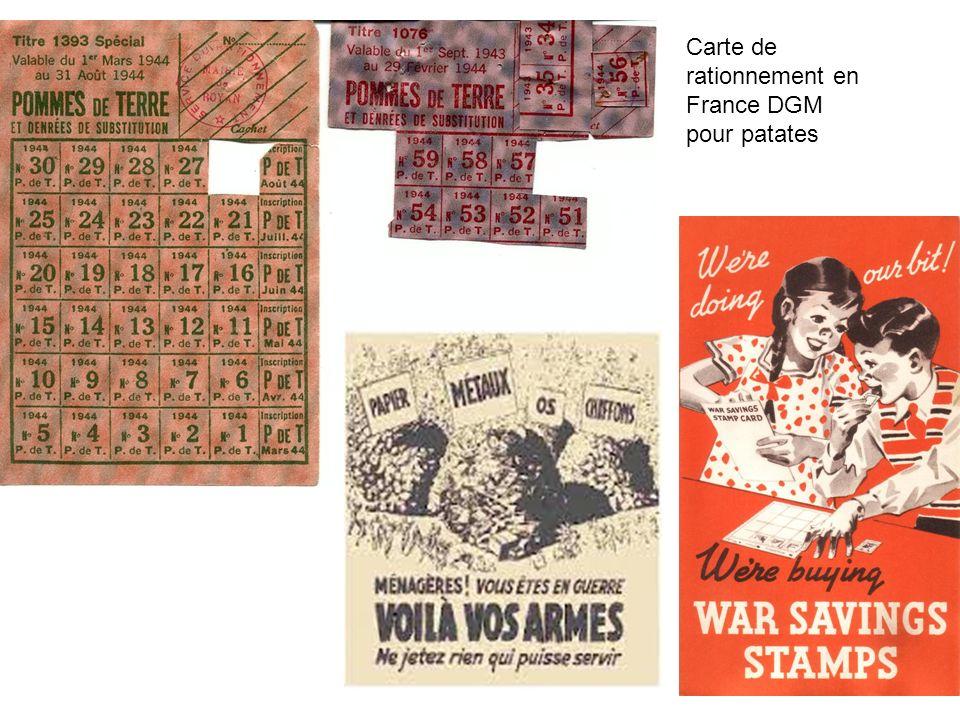 Carte de rationnement en France DGM pour patates