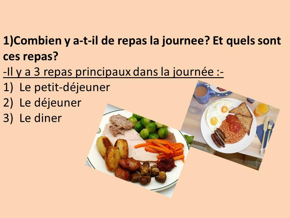 1)Combien y a-t-il de repas la journee Et quels sont ces repas