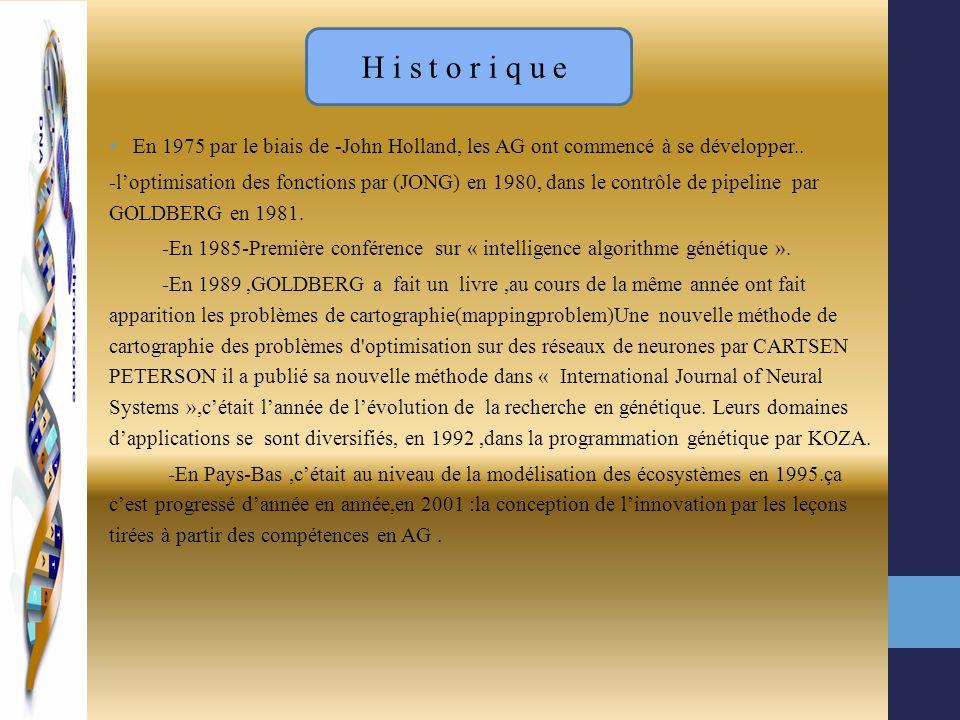Historique En 1975 par le biais de -John Holland, les AG ont commencé à se développer..