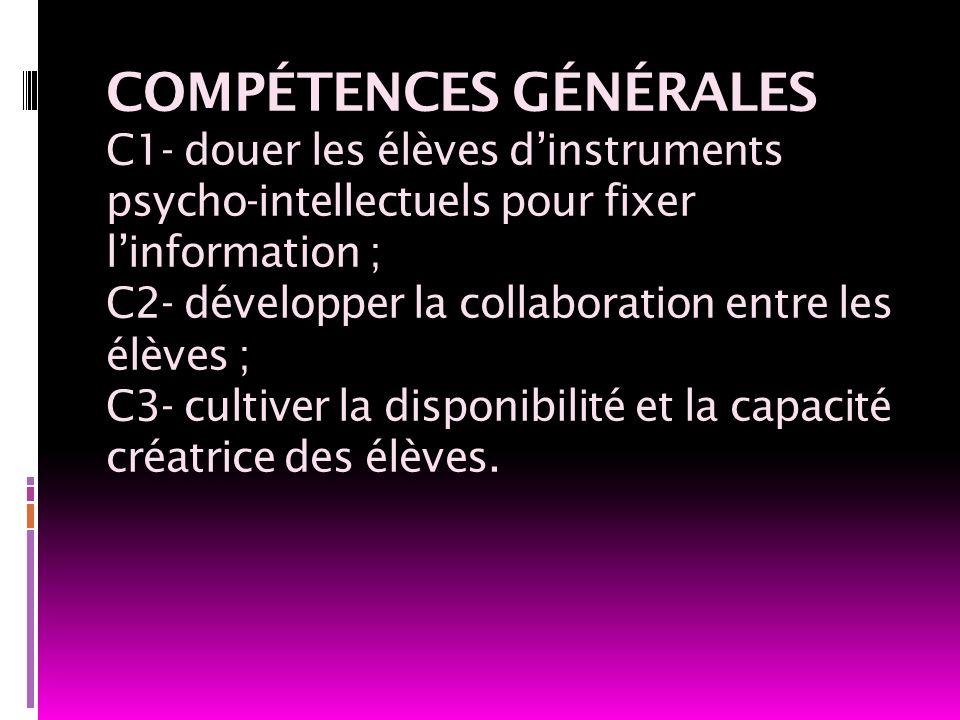 COMPÉTENCES GÉNÉRALES C1- douer les élèves d'instruments psycho-intellectuels pour fixer l'information ; C2- développer la collaboration entre les élèves ; C3- cultiver la disponibilité et la capacité créatrice des élèves.