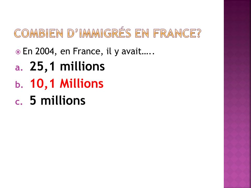 Combien d'immigrés en france