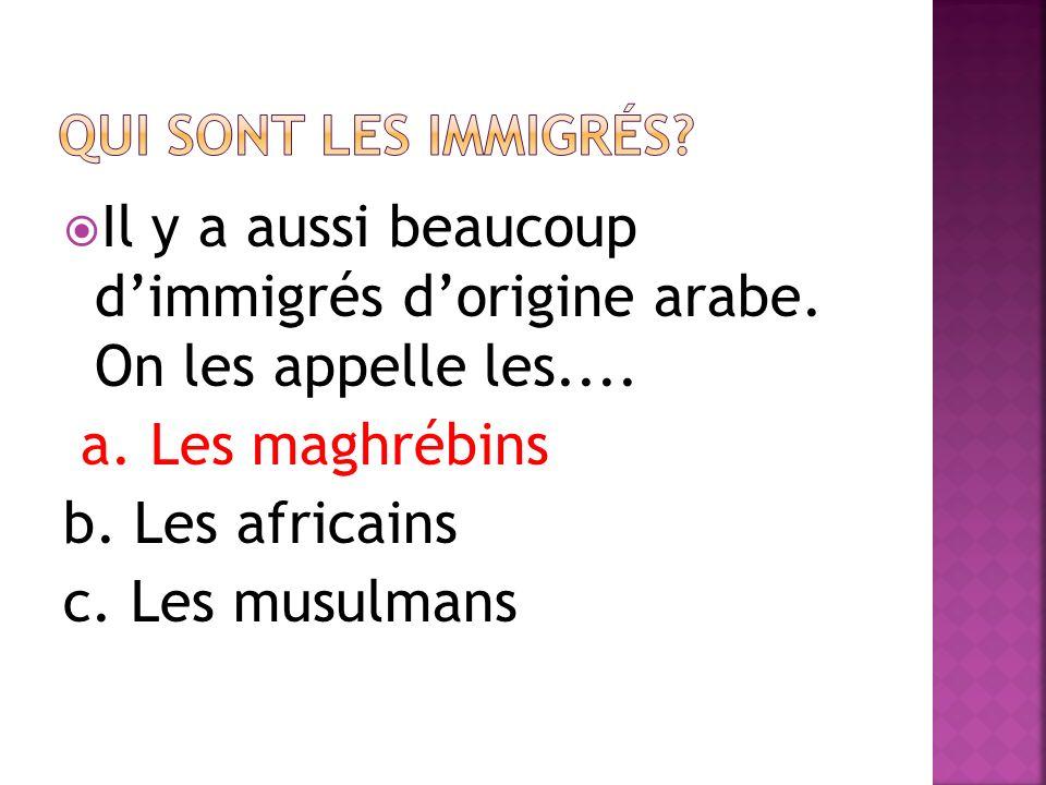Qui sont les immigrés Il y a aussi beaucoup d'immigrés d'origine arabe. On les appelle les.... a. Les maghrébins.