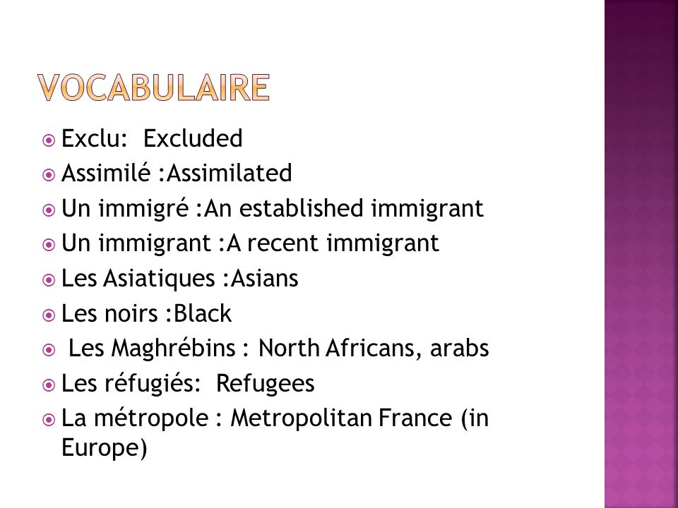 Vocabulaire Exclu: Excluded Assimilé :Assimilated