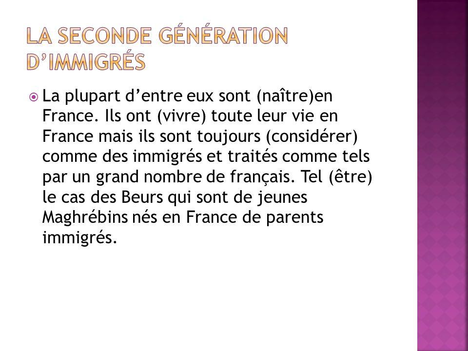 La seconde génération d'immigrés