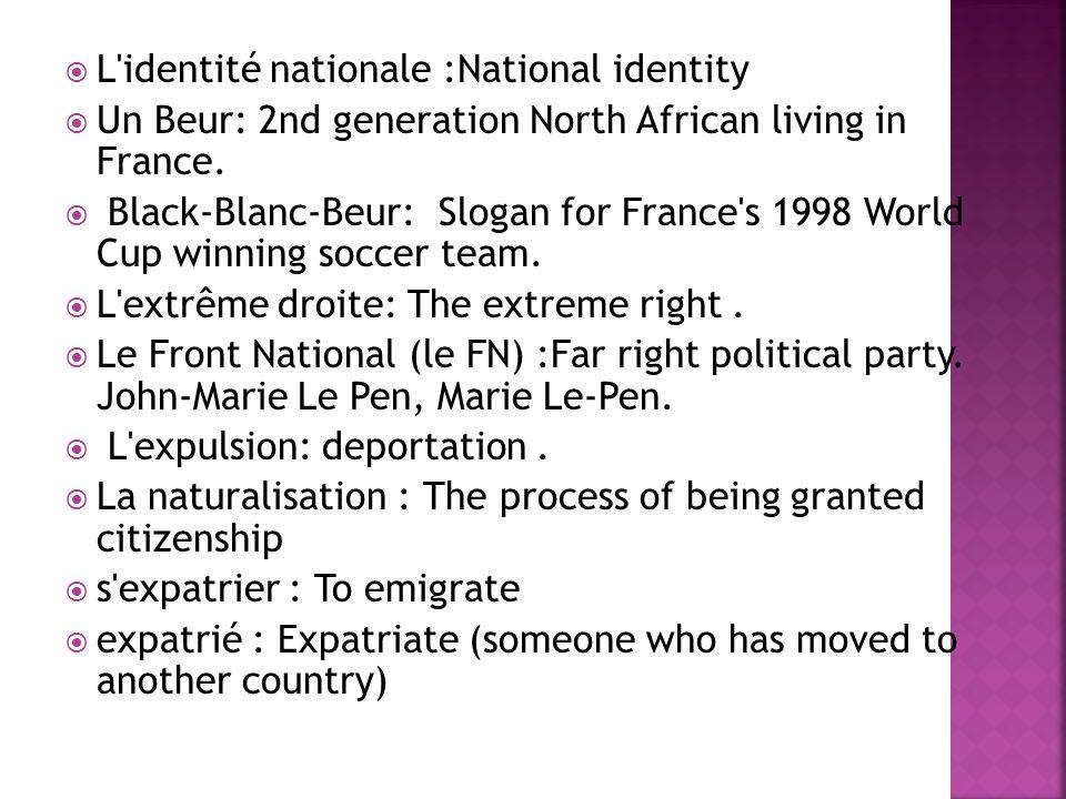 L identité nationale :National identity
