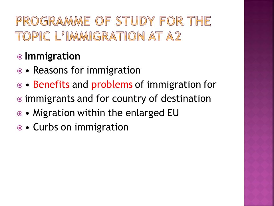 Programme of study for the topic L'immigration at a2