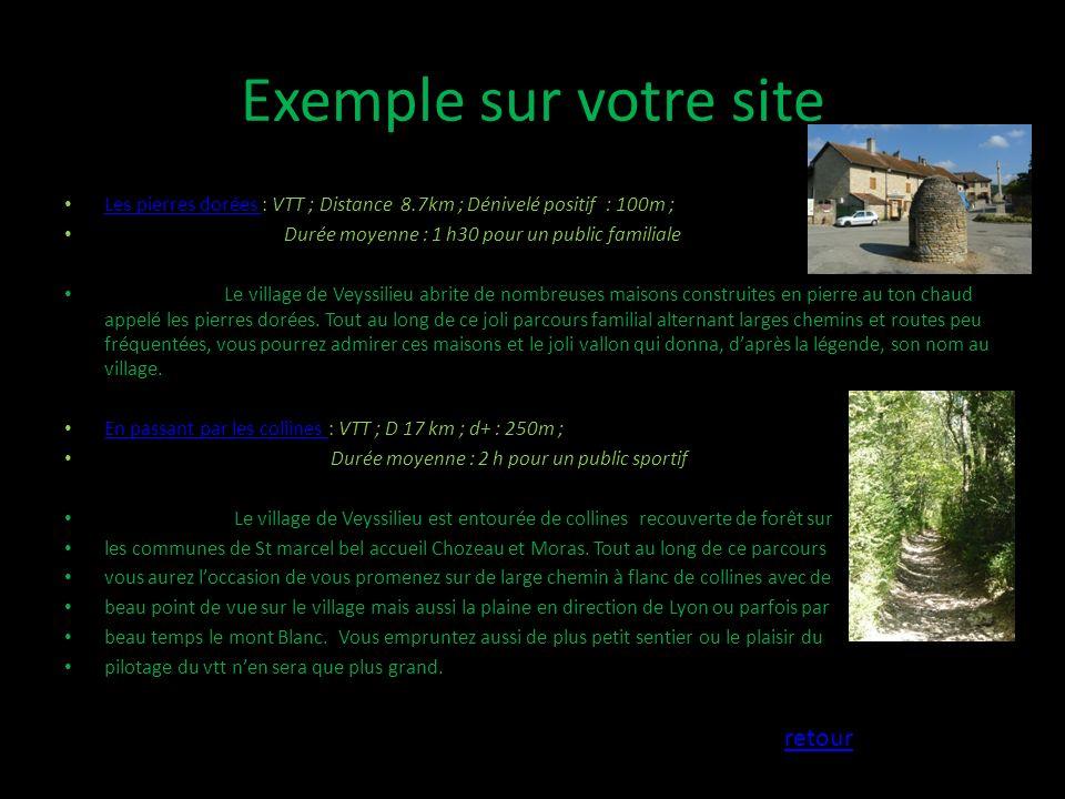 Exemple sur votre site retour