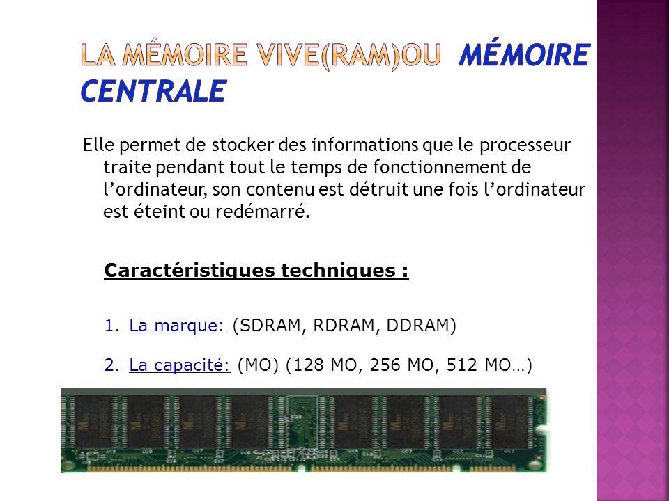 La mémoire vive(RAM)ou mémoire centrale