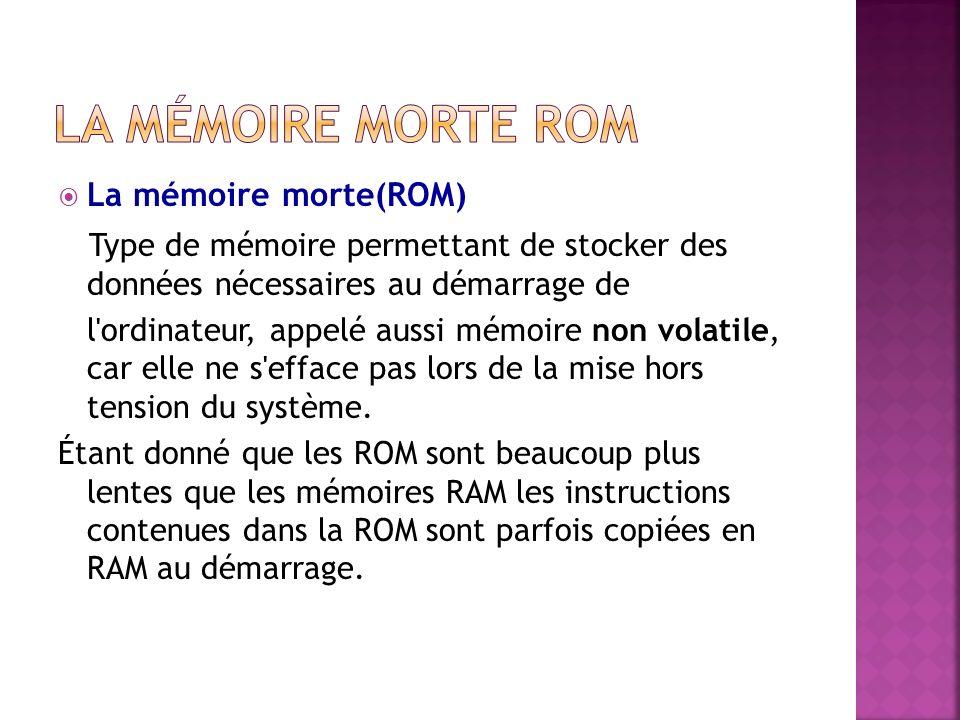 La mémoire morte ROM La mémoire morte(ROM) Type de mémoire permettant de stocker des données nécessaires au démarrage de.