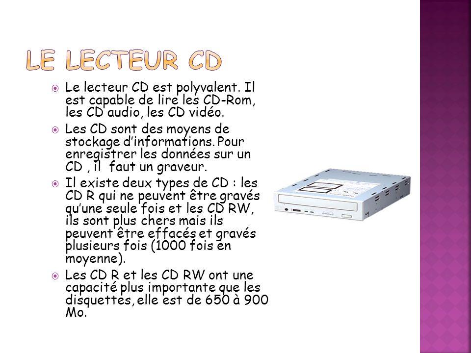 Le Lecteur CD Le lecteur CD est polyvalent. Il est capable de lire les CD-Rom, les CD audio, les CD vidéo.