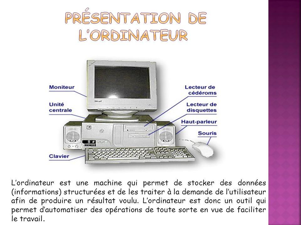 Présentation de l'ordinateur