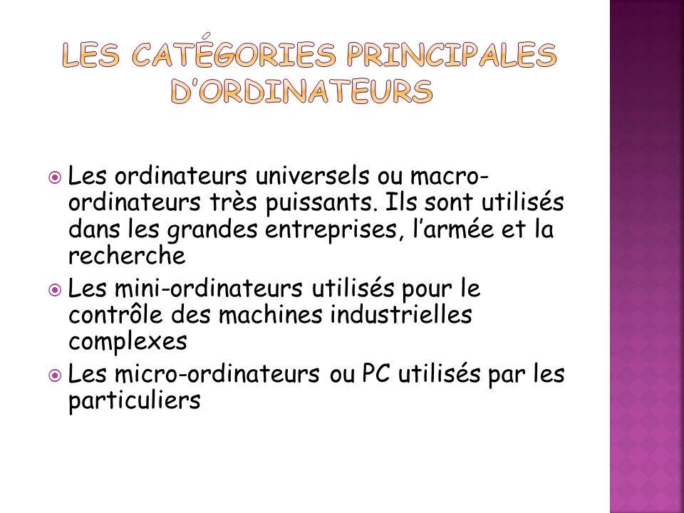 Les catégories principales d'ordinateurs