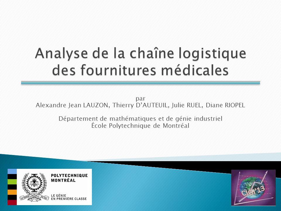 Analyse de la chaîne logistique des fournitures médicales