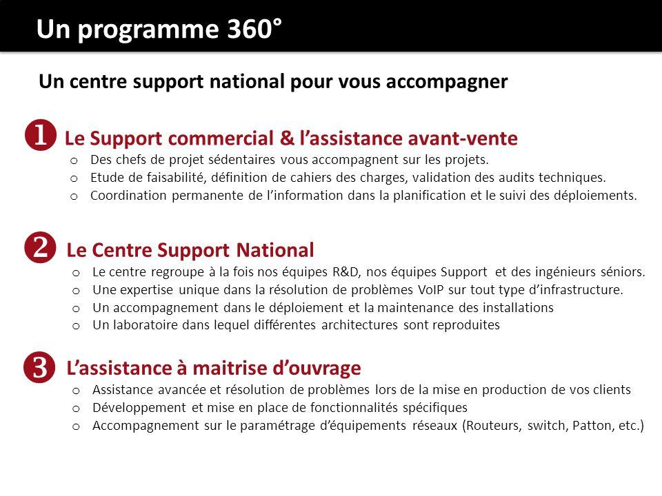 Un programme 360° Un centre support national pour vous accompagner. Le Support commercial & l'assistance avant-vente.