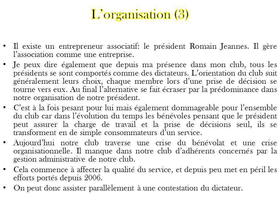 L'organisation (3) Il existe un entrepreneur associatif: le président Romain Jeannes. Il gère l'association comme une entreprise.
